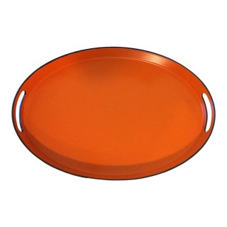 Orange Lacquer Oval Hermès Inspired Serving Tray