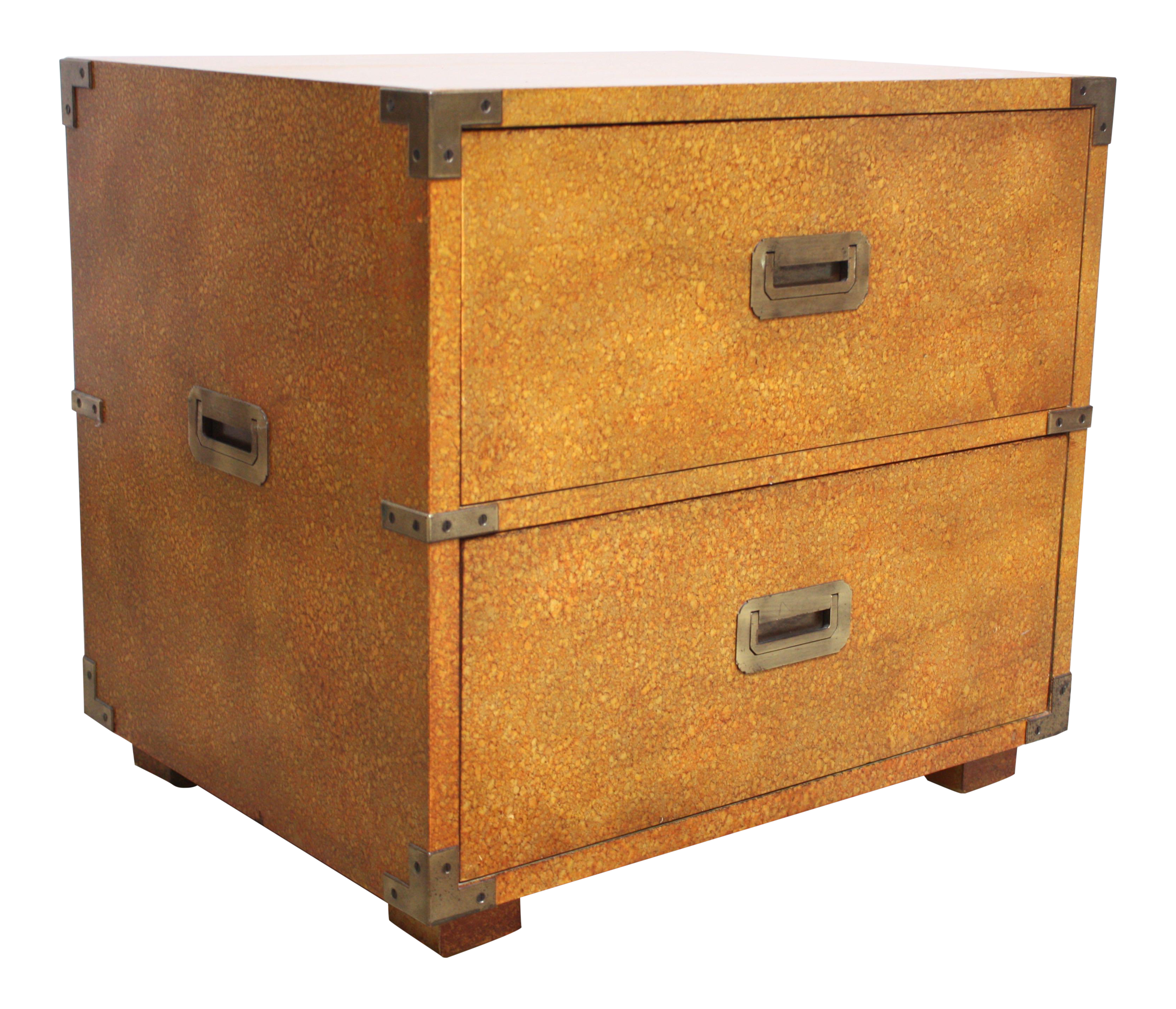 Delightful Henredon Campaign Style Chest In Oyster Finish