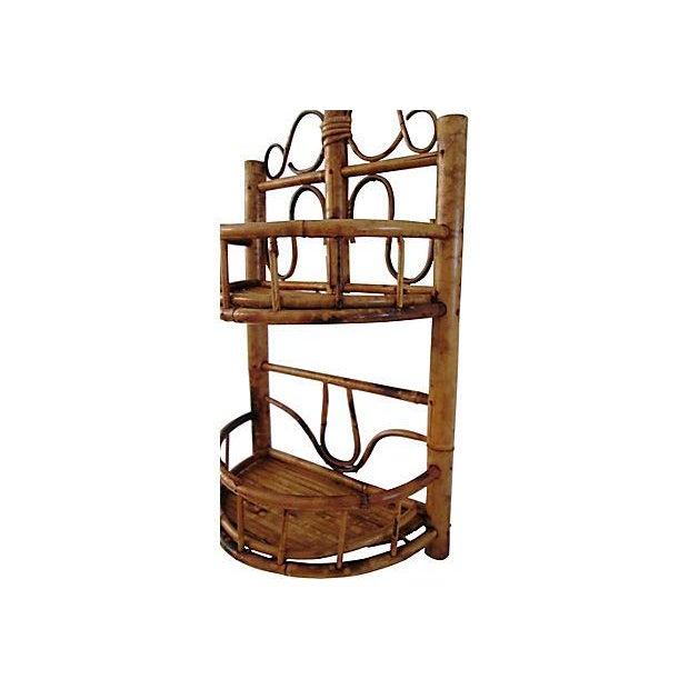 Image of Vintage Bamboo & Rattan Two-Tier Hanging Shelf