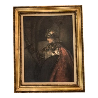 Vintage Framed Oil Painting of a Knight in Shining Armor