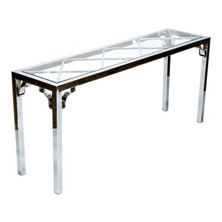 Mid Century Chrome & Glass Chinese Chippendale Console