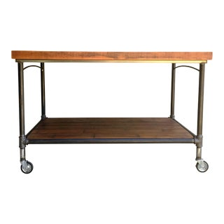 Reclaimed Wood & Steel Pipe Kitchen Island