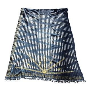 Embroidered Hand-Dyed African Indigo Textile