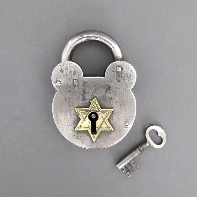 Steel & Brass Antique Padlock From England - Image 2 of 7