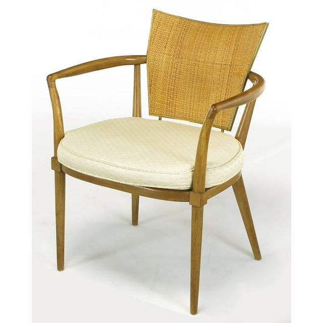 Set of Six Bert England Mahogany, Brass and Cane Dining Chairs - Image 4 of 7