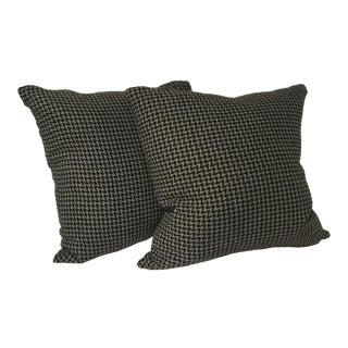 Graphite Houndstooth Down Pillows - a Pair