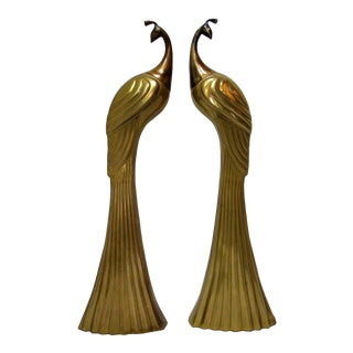Circa 1980s Brass Peacock Figures - A Pair