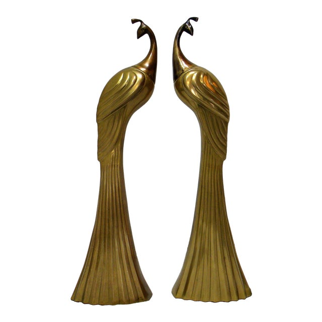 Circa 1980s Brass Peacock Figures - A Pair - Image 1 of 6