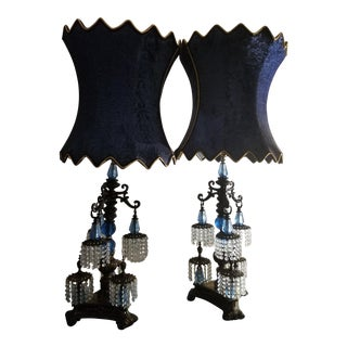 Antique Italian Provencial Brass Base Lamps - A Pair