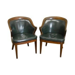 Green Leather Solid Mahogany Barrel Back Chairs - A Pair