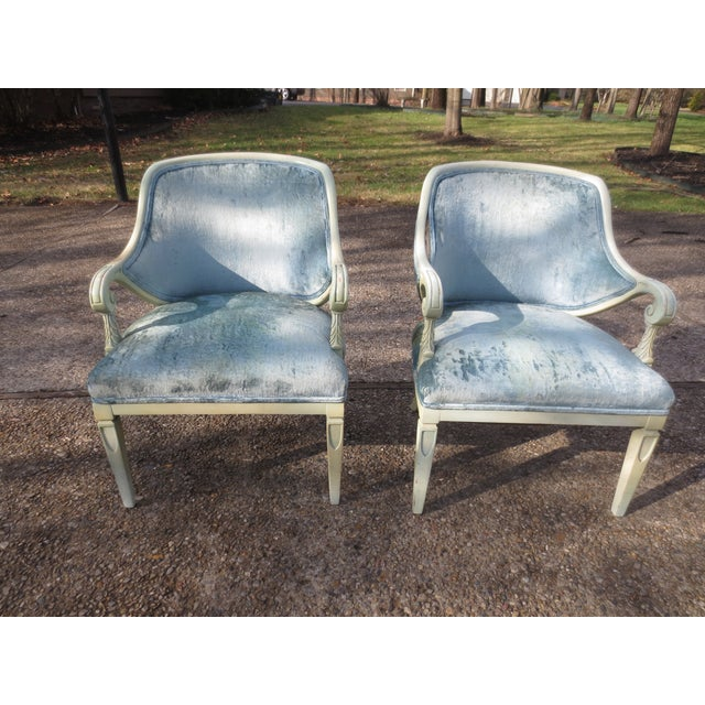Image of Vintage 1950s Blue Velvet French Chairs - A Pair