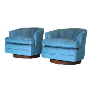 Milo Baughman Swivel Chairs Pair