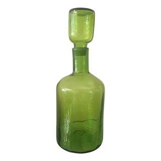 Blenko Mid-Century Olive Green Decanter