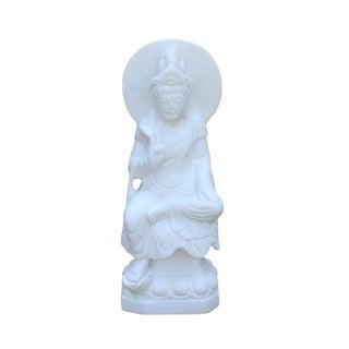 Chinese White Marble Stone Sitting Kwan Yin Tara Bodhisattva Statue
