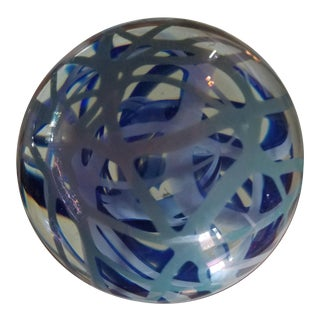 Michael Cohn 1979 Art Glass Metallic Blue Paperweight