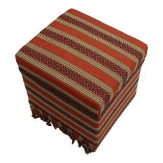 Red & Black Kilim Upholstered Ottoman