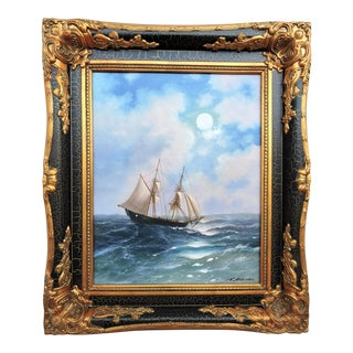 Ship at Sea Framed Oil Painting