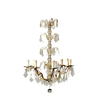 Vintage French 8 Light Brass, Glass & Crystal Chandelier