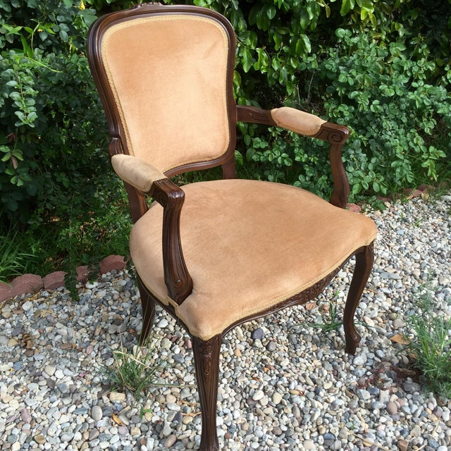 Vintage French Provincial Carved Wood Armchair | Chairish