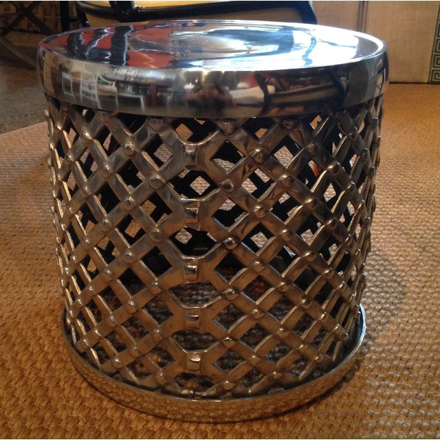 Woven Chrome Garden Stool - Image 2 of 3