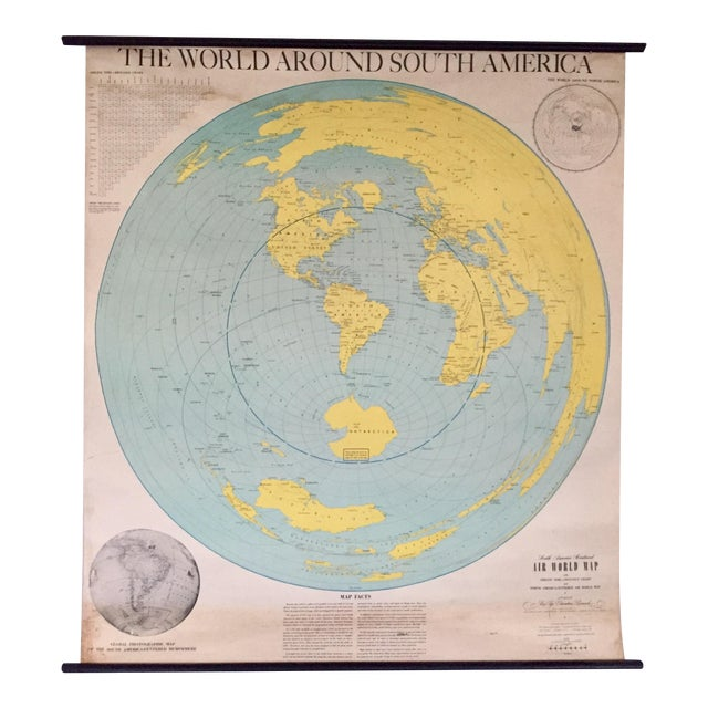 1945 Vintage 1st Edition South America School Map - Image 1 of 9