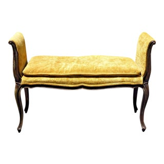 Yellow Velvet French Provincial Bench