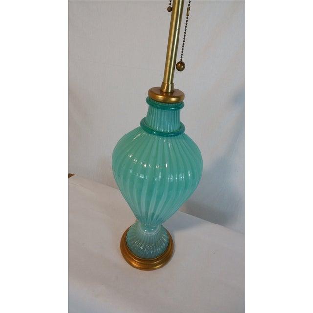 Image of Vintage Aqua Murano Glass Lamp