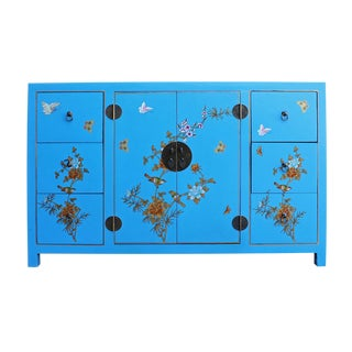 Chinese Butterfly & Floral Decorated Blue Sideboard Cabinet