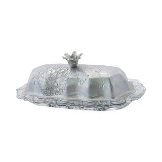 Vintage Glass Butter Dish & Wrought Aluminum Lid
