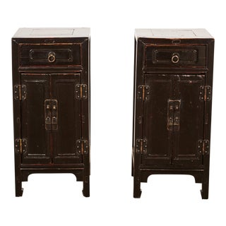 Pair of 18th Century Chinese Tall Lacquer Side Cabinet