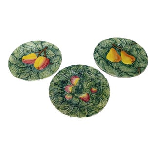 Vintage Italian Majolica Fruit Plates - Set of 3