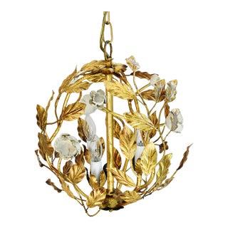 Vintage Three-Arm/Light Italian Gold Gilt Ball Tole Chandelier