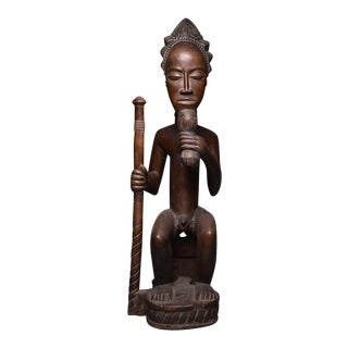 Baule Wooden Sculpture of a Chief Seated on a Throne