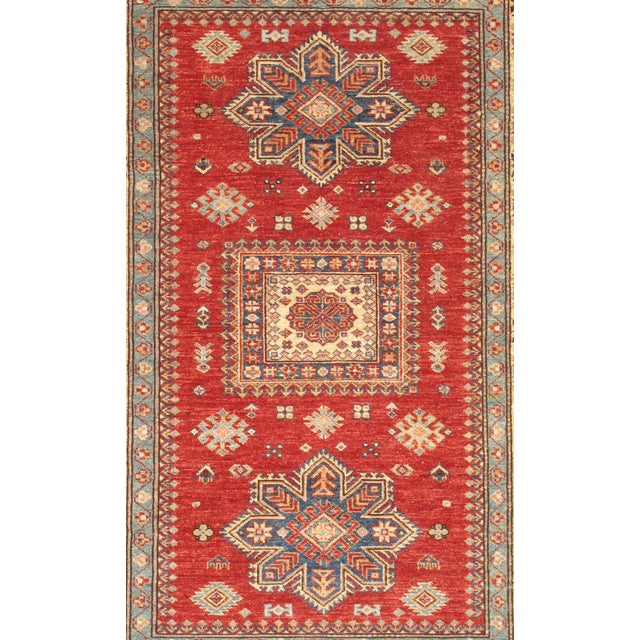 Wool Hand-Knotted Kazak Design Rug - 4'' x 6'' - Image 2 of 2