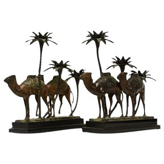 Bronze Camel and Palms Candle Holders - Pair
