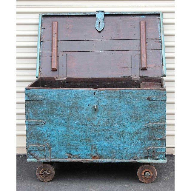 Vintage Teal Wheeled Wood Chest - Image 2 of 5