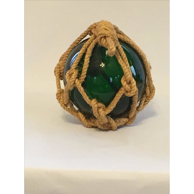 Green Glass Fishing Float with Netting - Image 5 of 7