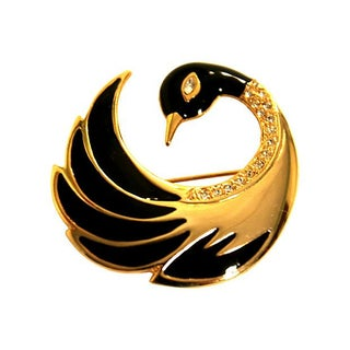 Les Bernard Large Stylized Swan Brooch
