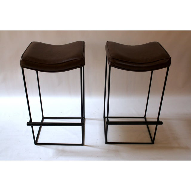 Mid-Century Modern Upholstered Iron Bar Stools - A Pair - Image 3 of 10