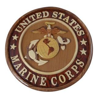 Wooden Marine Corp Round Plaque