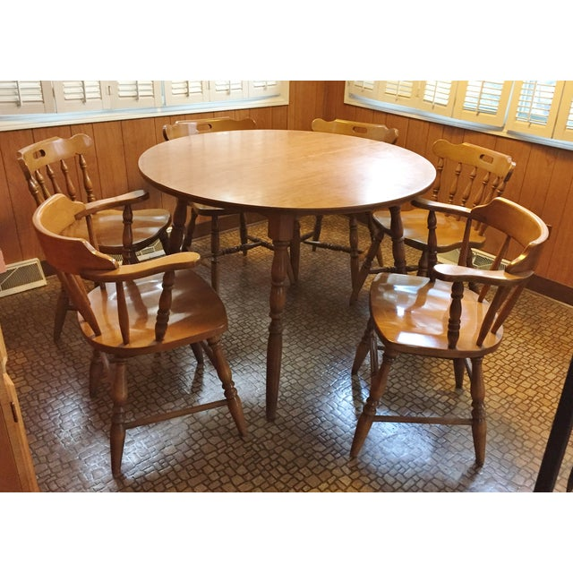 Mid-Century Modern Captain's Table & Six Chairs - Image 2 of 8