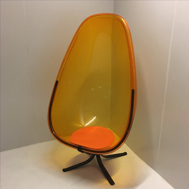 60 39 s 70 39 s orange acrylic egg chair with black base chairish for 70s egg chair