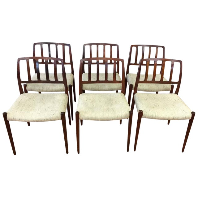 "Niels Møller ""Model 83"" Rosewood Dining Chairs - Set of 6 - Image 1 of 10"