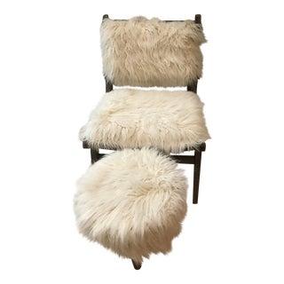Faux Fur Corner Chair & Footstool