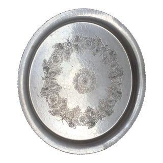 Floral Etched Aluminum Tray