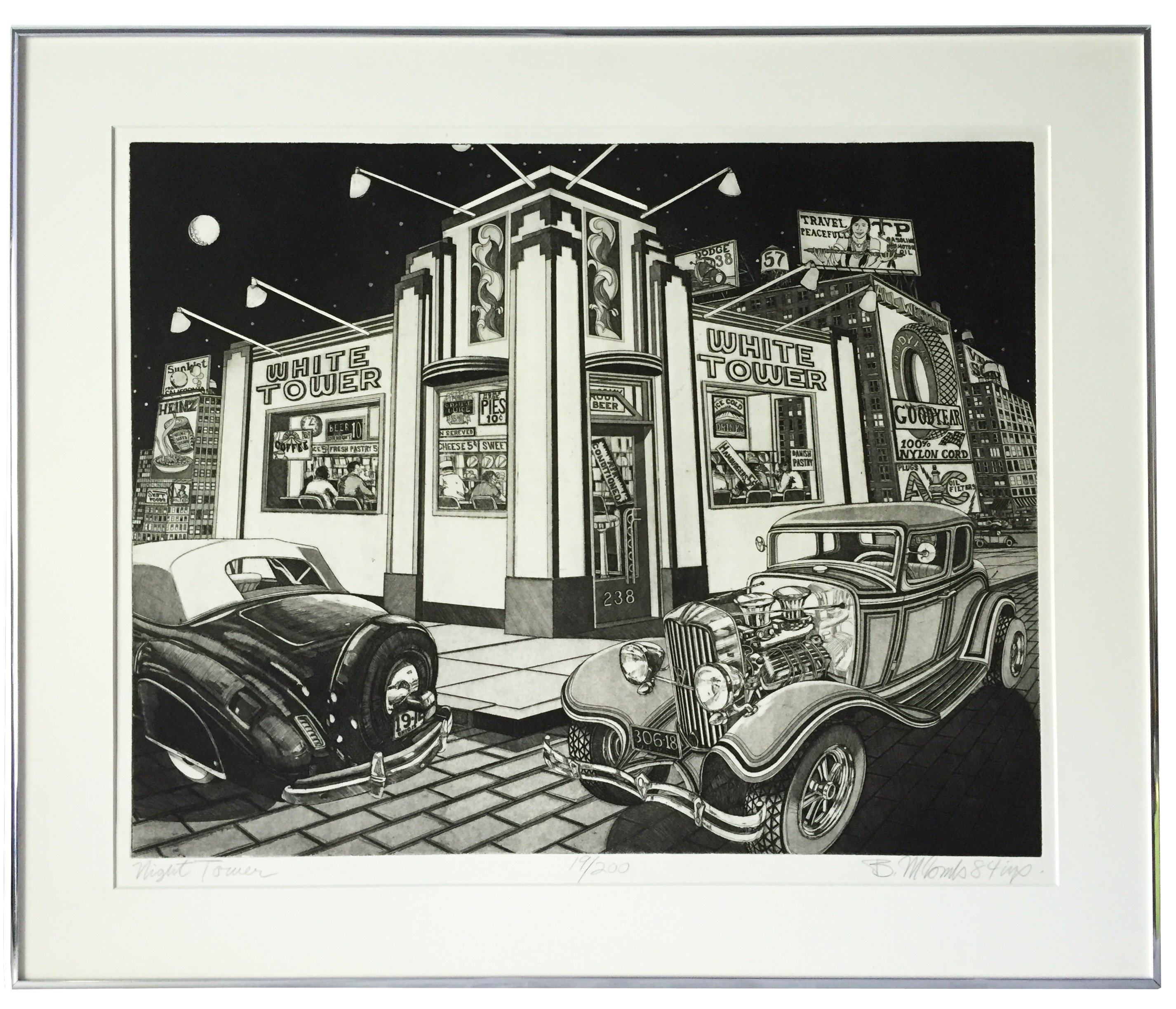 Vintage 1950s Diner Etching By Bruce Mccombs Chairish