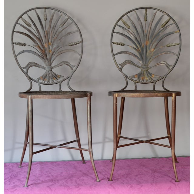Image of Italian Wheat Sheaf Chairs, Salvadori - A Pair