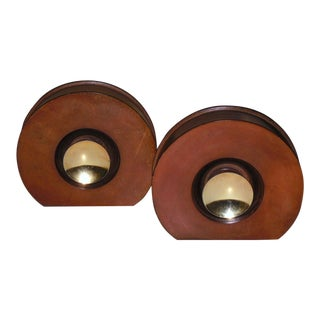 Modernist Round Leather & Brass Bookends - a Pair