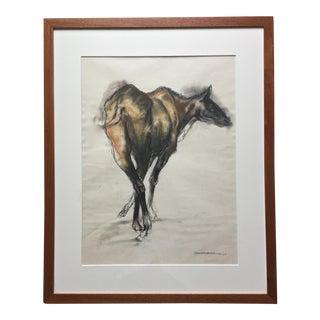 "1968 Horse Pastel-32""-R.Frankenberg-Signed-Custom Framed"