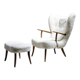 Madsen and Schübel 'Pragh' Lounge Chair with Ottoman, Denmark, 1950s